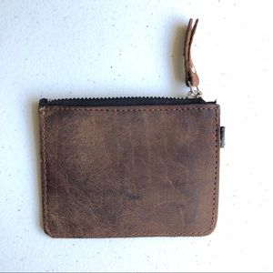 Brown Leather Zipper Coin Pouch
